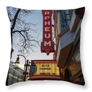 Orpheum Theater Madison, Alice Cooper Headlining Throw Pillow