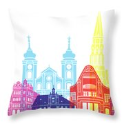 Osijek Skyline Pop Throw Pillow