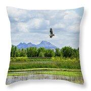 Osprey Over The Wetlands Throw Pillow