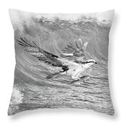 Osprey The Catch Bw Throw Pillow