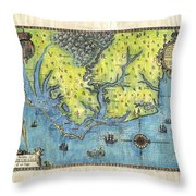 Outer Banks Historic Antique Map Hand Painted Throw Pillow