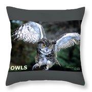 Owls Mascot 2 Throw Pillow