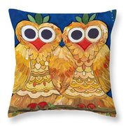 Owls On A Branch Throw Pillow by Caroline Sainis