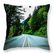 Pacific Northwest Road Throw Pillow