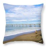 Pacifica Municipal Pier - California Throw Pillow