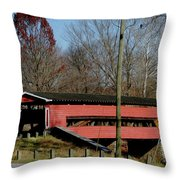 Painted Bridge At Chads Ford Pa Throw Pillow