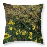 Painted Fall Flowers Throw Pillow