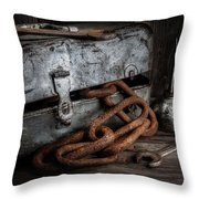 Painted Toolbox And Chain Throw Pillow