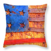 Painted Us Flag, Georgia, Usa Throw Pillow