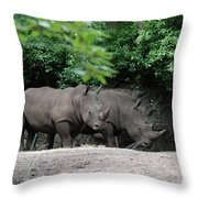 Pair Of Rhinos Standing In The Shade Of Trees Throw Pillow
