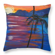 Palm Trees And Water Throw Pillow