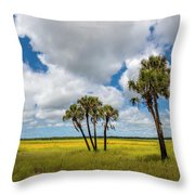 Palm Trees In The Field Of Coreopsis Throw Pillow