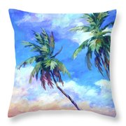 Palms And Evening Clouds Throw Pillow