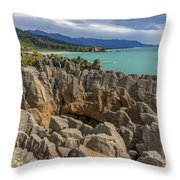 Pancake Rocks - New Zealand Throw Pillow