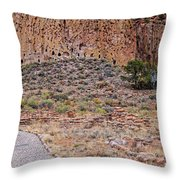 Panorama Of Ancient Tyuonyi Pueblo Dwellings At Bandelier National Monument - Los Alamos New Mexico Throw Pillow