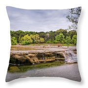 Panorama Of Link Falls At Upper Bull Creek District Greenbelt Park - Austin Texas Hill Country Throw Pillow