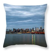 Panorama Of Seattle Skyline At Night With Storm Clouds Throw Pillow