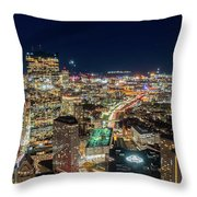 Panoramic View Of The Boston Night Life Throw Pillow
