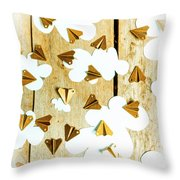 Paper Clouds And Metal Planes Throw Pillow