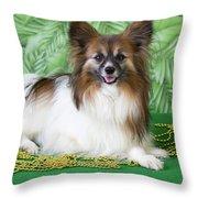 Papillon On Green Throw Pillow