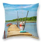 Paradise Sailing Day In Maine Throw Pillow