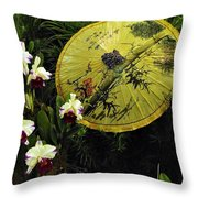 Parasol Among The Orchids Throw Pillow