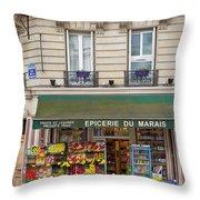 Paris Corner Grocery Throw Pillow by Brian Jannsen