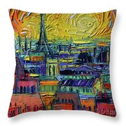 Paris Rooftops View From Centre Pompidou - Textural Impressionist Stylized Cityscape Mona Edulesco Throw Pillow