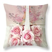 Paris Shabby Chic Pink White Roses Eiffel Tower Baby Girl Nursery Decor - Paris Pink Roses Throw Pillow
