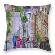 Paris Sous La Pluie Throw Pillow