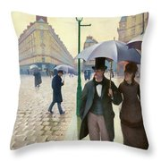 Paris Street In Rainy Weather - Digital Remastered Edition Throw Pillow