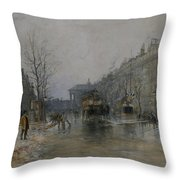 Paris Street Scene  Throw Pillow