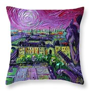 Paris View With Gargoyles Diptych Oil Painting Right Panel Throw Pillow