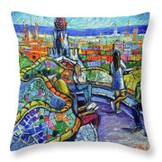 Park Guell Enchanted Visitors - Impasto Palette Knife Stylized Cityscape Throw Pillow
