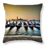 Parked Gondolas, Early Morning In Venice, Italy.  Throw Pillow
