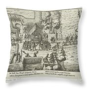 Parma Knighted In The Order Of The Golden Fleece, 1585, Anonymous, After Frans Hogenberg, 1613 - 161 Throw Pillow