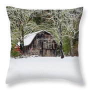 Patriotic Barn In The Snow Throw Pillow