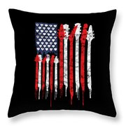 Patriotic Guitar Flag America Lovers Guitar Music Lovers Gifts Throw Pillow