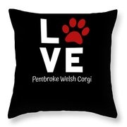 Paw Love Pembroker Welsh Corgi Throw Pillow