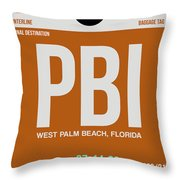 Pbi West Palm Beach Luggage Tag II Throw Pillow