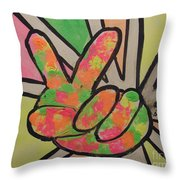 Peace Sign Throw Pillow by Saundra Johnson