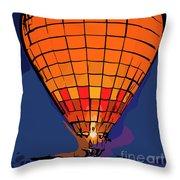 Peach Hot Air Balloon Night Glow In Abstract Throw Pillow