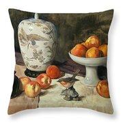 Peach Warbler Throw Pillow