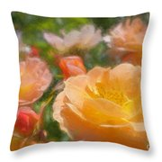 Peach Yellow Roses Throw Pillow