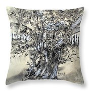 Pear Tree And Pickets Throw Pillow