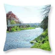 pedestrian bridge over river Tweed at Peebles Throw Pillow