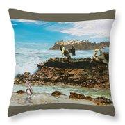 Pelicans At Laguna Beach 3 Throw Pillow