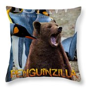 Penguinzilla Throw Pillow by ISAW Company