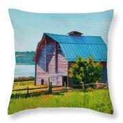 Penn Cove Barn Throw Pillow