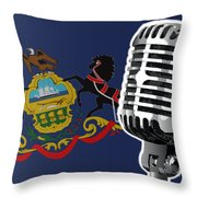 Pennsylvania Flag And Microphone Throw Pillow